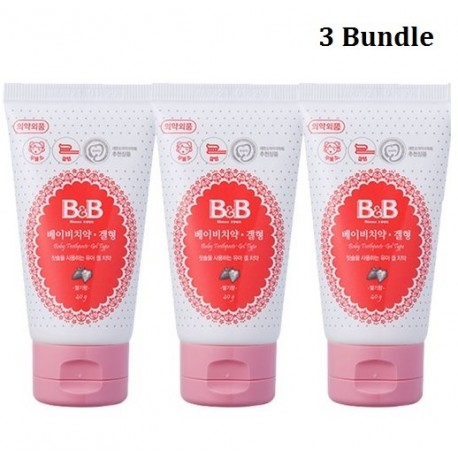 Korea B&B Baby Toothpaste Gel Type Strawberry Flavor 40g x 3