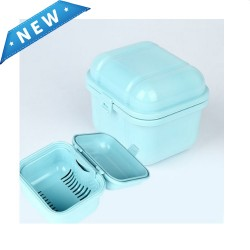 Korea Denture Case with Strainer,Denture Bath Cleaning Soaking Container,False Teeth Storage Holder for Travel