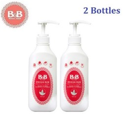 Korea B&B Baby Feeding Bottle Liquid Type Cleanser (Bottle) 600ml x 2 Bottles,Natural Wash for Infant Milk Bottles