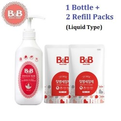 Korea B&B Baby Feeding Bottle Liquid Type Cleanser 1x Bottle 600ml x 2 Refill 500ml,Natural Wash for Infant Milk Bottles
