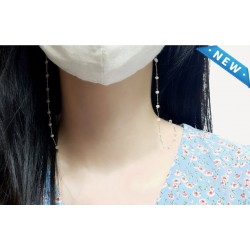 Korea Mask Necklace luxury chain fashion mask necklace anti-lost mask strap/pouch gift -Advanced surgical round chain
