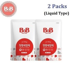 Korea B&B Baby Feeding Bottle Liquid Type Cleanser (Refill) 500ml x 2 Packs,Natural Wash for Infant Milk Bottles